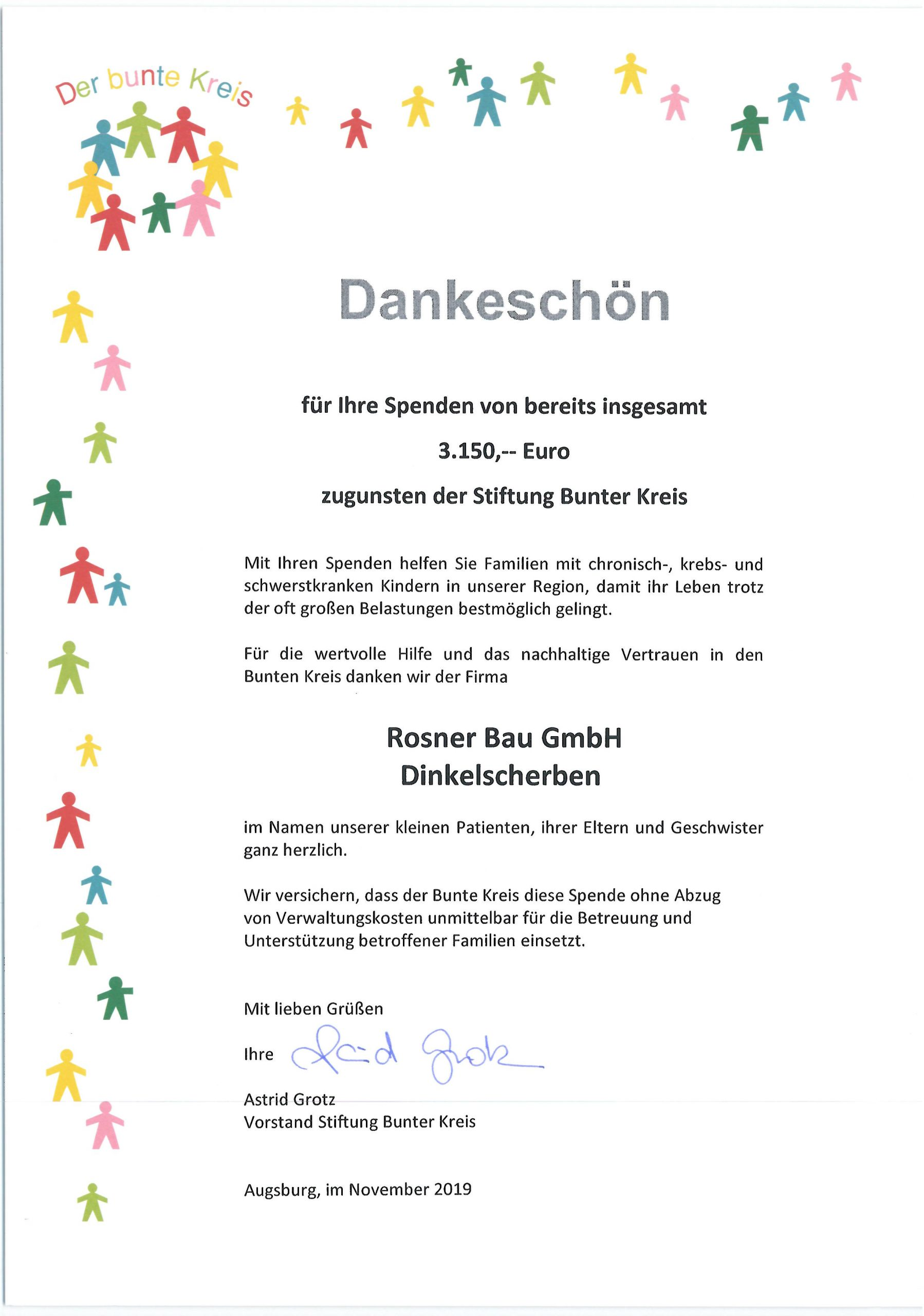Stiftung Bunter Kreis 2019 Rosner Bau GmbH